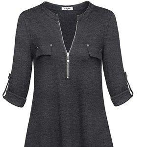 Women's long sleeve zipper casual shirt
